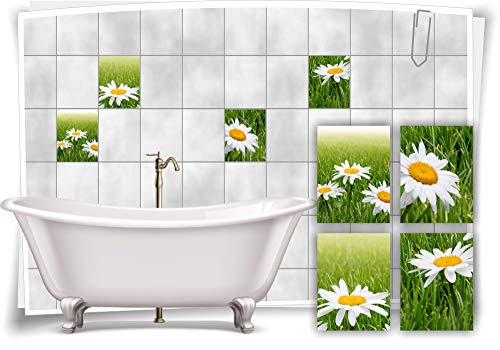 Medianlux Fliesen-Aufkleber SPA Wellness Blume Wiese Kamille Grün Weiß Gelb Bad WC Deko, 20x25cm fp5p553h-135479