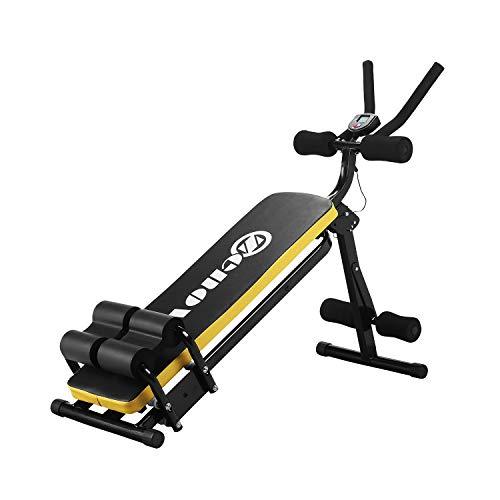 ZENOVA AB Workout-Maschine, zusammenklappbar, Bauch- und Bauchtrainer, Taillentrainer, Bauchmuskeltrainer, Bauchmuskeltrainer, Bauchmuskeltrainer, Workout-Fitnessgerät mit LCD-Zähler (gelb)