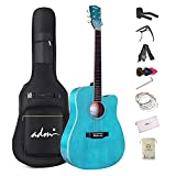 ADM Acoustic Guitar for Beginner Adult, 41 Inch Kids Students Cutaway Acustica Guitarra Starter Bundle Kit Free Lessons with Gig Bag, Guitar Capo, Strap, Picks and Extra Strings, Blue