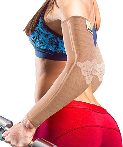 Sparthos Arm Compression Sleeve - Arms Brace for Recovery, Support for Athletic Sports Tattoo Bicep Sun Cover Uv Protection Warmer Elbow Tendonitis It Band Copper - Mens and Womens (Beige-S)