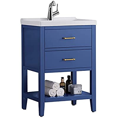 "F&R Bathroom Vanity 24"" Navy Blue, Small Bathroom Vanity with Sink 24"" Modern Bathroom Sink & Vanity with Storage (Mirror Not Included)"