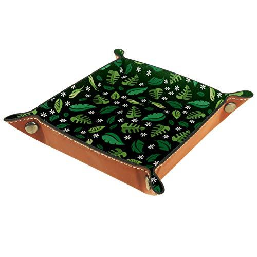 AITAI Bandeja de valet de cuero vegano organizador de mesita de noche para escritorio, plato de almacenamiento Catchall color verde oscuro patrón de hojas