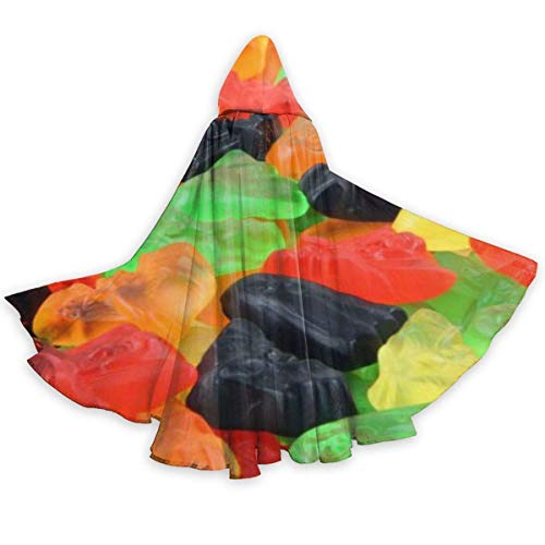 Colored Gummy Candy Halloween Cloak Fancy Hooded Cape with Drawstring Adult Cool Witch Robe Extra Long Party Cape