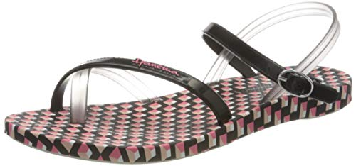 Ipanema Fashion Sand VIII Fem, Sandalias con Tira Vertical Mujer, Multicolor (White/Black/Pink 8985.0), 39 EU