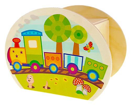 Hess Holzspielzeug 15234 - Spardose aus Holz mit Schlüssel, bunte Eisenbahn, Geschenk für Kinder zum Geburtstag, ca. 11,5 x 8,5 x 6,5 cm