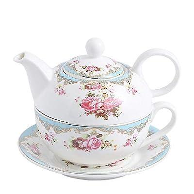 MALACASA Tea for One,Porcelain Tea Pot Set for One,Teacup and Saucer Set,Tea Service Set Tea Pot for Loose Tea(11 Oz Teapot, 8.4 Oz Teacup, 6 Inch Saucer)