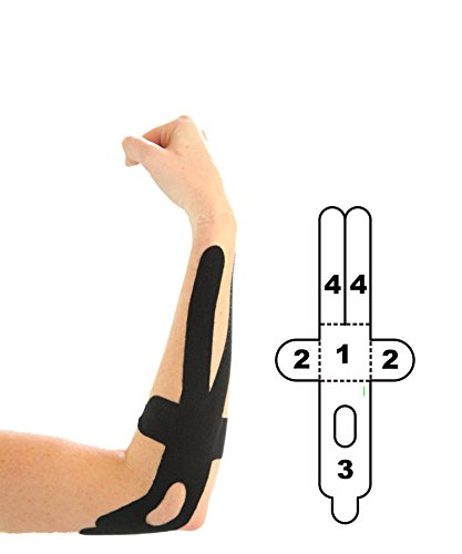 5 Pack - Kindmax Kinesiology Tape Precut Elbow Support (Black) - K Tape for Elbow Injuries