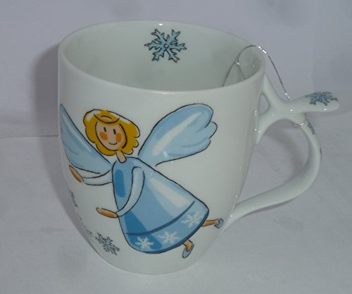 Cha Cult Taza de té de porcelana con diseño de ángel de la guarda (con copos de nieve, azul)