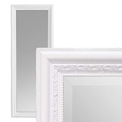 LEBENSwohnART Wandspiegel Argento barock 120x60cm Spiegel Pur-Weiß Holzrahmen und Facette