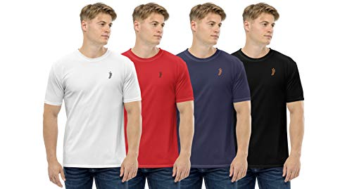 JJ TEES Mens Polyester Round Neck Tshirts (Size: XXL) (Pack of 4, Combo 7)