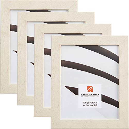 Craig Frames 26012 8.5 x 11 Inch Picture Frame, Distressed Off-White, Set of 4