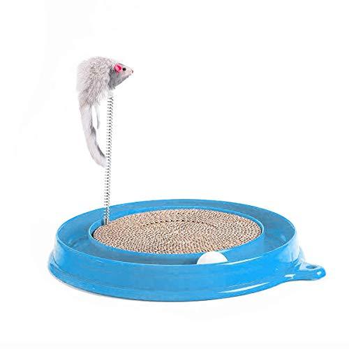 Ponacat Katzenspielbrett, lustiges Katzenspielzeug, runde Kunststoff-Kratzschublade mit Kugelbahn und pelzigem Mausspielzeug zum Trainieren und Reduzieren von Möbelkratzern - Rosa