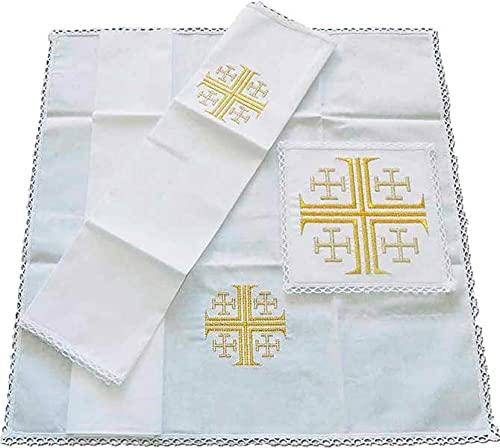 Desconocido Conjunto de altar con Cruz de Jerusalén bordada