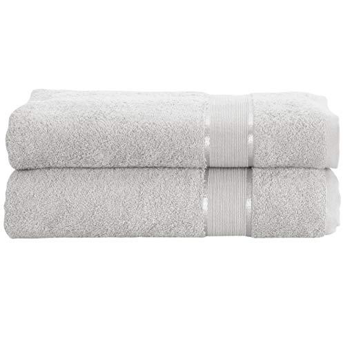 Mixibaby - Juego de 2 toallas de mano, toalla de ducha, toalla de baño, toalla de sauna, toalla de rizo de algodón, 500 g/m², gris, Duschtuch 70x140cm