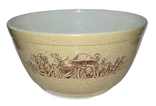 Vintage Pyrex Beige Mushroom Forest Fancy 1 1/2 Quart Glass Mixing Batter Nesting Bowl, 4 x 7 Inches