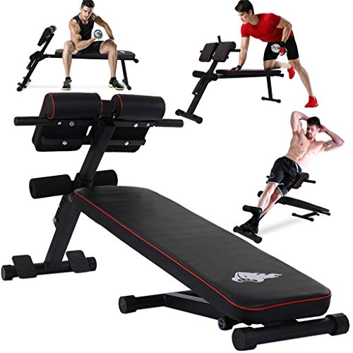 Tengma Multi-Functional Weightlifting Bench for Full All-in-One Body Workout – Hyper Back Extension, Stretching Stool Roman Chair, Adjustable Ab Sit up Bench, Decline/Flat Bench - 660lbs Home Gym