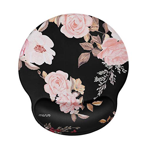 MOSISO Mouse Pad with Wrist Rest Support, Peony Ergonomic Mousepad Non-Slip Rubber Base Comfortable Home/Offic Pain Relief&Easy Typing Cushion for Laptop with Neoprene Cloth&Raised Memory Foam, Black