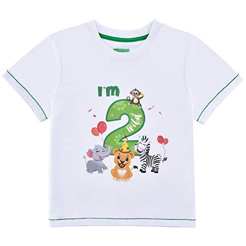 2do Camiseta Cumpleaños Bebé Niño Animales de Selva Cumpleaño Manga Corta Tops 2 años Fiesta de Cumpleaños de Selva 100% Algodón Impreso T-Shirt(Blanco, 18-24 Meses)