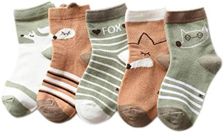 Kids Boys Girls age 1-12 Years Mixed Design Colourful Cartoon 100/% Cotton Sock TiXby 5 Thick Pairs in a pack