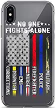 iPhone Xs Max Pure Clear Case Transparent Cases Cover No One Fights Alone USA Flag Thin Line Military Police Nurse American Crystal Clear