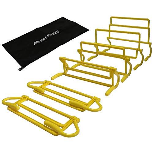REFREEZE(リフリーズ) トレーニング ミニハードル 6個 + 収納袋 セット 4段階高さ調節可能 選べる5カラー (イエロー)