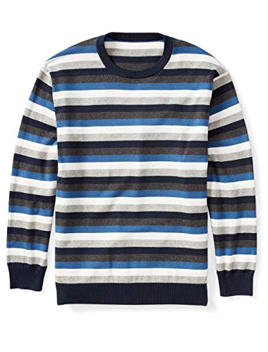 Amazon Essentials Men's Big & Tall Crewneck Sweater fit by DXL, Blue/Multi, 6XL