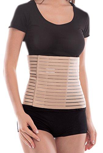 Cinturón elástico transpirable postparto 24cm   Faja abdominal postoperatorio XX-Large Beige