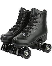 مزلاجات بعجلات من XUDREZ، مزلاجات مزدوجة الصفوف قابلة للتعديل من الجلد عالية الجودة ذات الأسطوانة مثالية للاستخدام في الأماكن المغلقة أو الهواء الطلق الكبار المتزلجة مع حقيبة