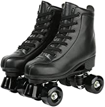 Redson Womens Roller Skates Light Up Four-Wheels Artificial Leather High-top Roller Skates Perfect Indoor Outdoor Adult Roller Skates with Bag (Black Wheel,41-US: 9)