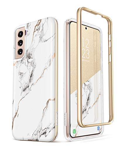 GVIEWIN Compatible with Samsung Galaxy S21 Plus Case 5G 6.7 Inch, Marble Shockproof Bumper Hard Back Dual-Layer Protective Cover Without Built-in Screen Protector (White/Gold)