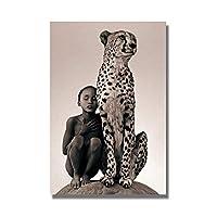 壁の芸術の少年とチーター動物のキャンバスの絵画野生のアフリカのポスターとプリントの写真リビングルームの家の装飾(60x80cm)フレームレス