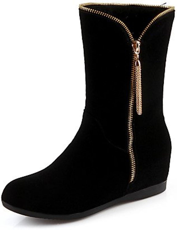 XZZ  Damenschuhe - Stiefel - Kleid   Lässig - Vlies - Keilabsatz - Wedges   Rundeschuh   Modische Stiefel - Schwarz    Langfristiger Ruf    Sofortige Lieferung    Sehr gute Qualität