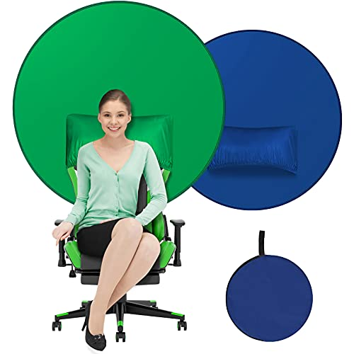 WENMER Green/Blue Double-Sided Collapsible Webcam Background 2.5ft Portable Screen Backdrop for Photography Studio Video Chats Skype Web Conference Zoom Streaming 2-in-1 Screen for Chair