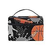 ALARGE Bolsa de maquillaje con patrón de baloncesto deportivo, bolsa de cosméticos, bolsa de viaje portátil, bolsa de aseo para mujeres y niñas