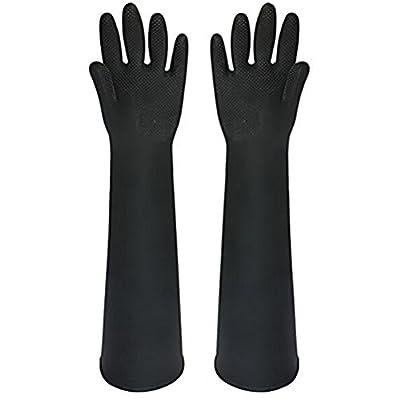 Buwico® Schwarz Industrie Gummi Latex Handschuh, Chemikalien und Flüssigkeitsschutz Handschuh