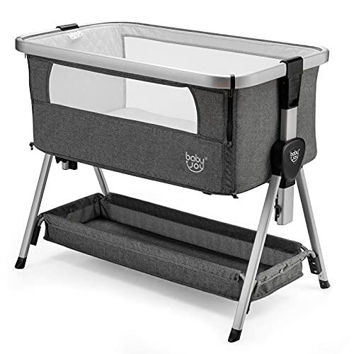COSTWAY Bedside Crib, Folding Baby Bassinet with Mattress, Mesh Windows, Storage Basket and Wheels, 7 Height Adjustable Sleeping Cot for 0-6 Months, 9 kg (Dark Grey)