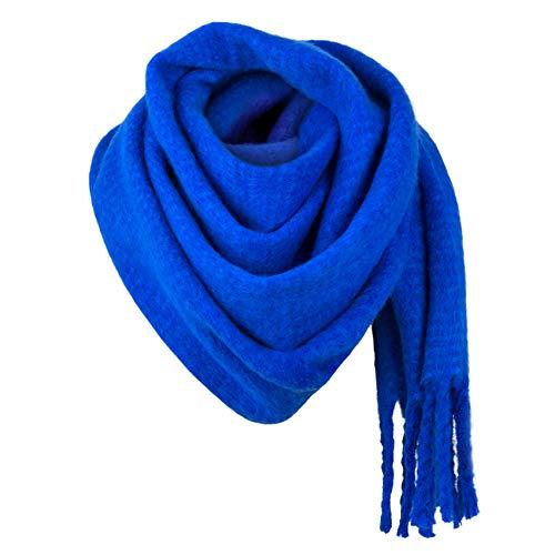 MBW Damen XXL Winterschal Oversized dunkelblau Damenschal Poncho Schal kuschelig weich