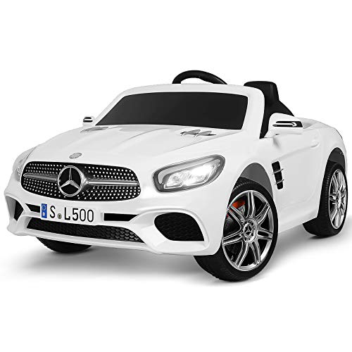 Uenjoy 12V Kids Ride On Car Mercedes-Benz SL500 Electric Cars Motorized Vehicles, Remote Control RC, Bluetooth, LED Lights, Music, Horn, Spring Suspension, White