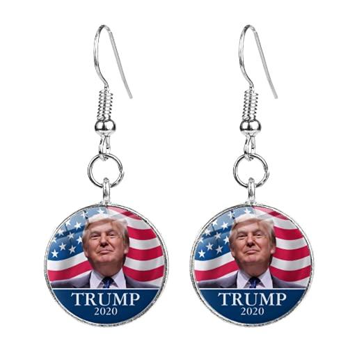 Donald Trump 2020 Collection Pendientes Keep America Gran Letra Impreso Cabujón de Cristal Pendiente de Gota para los partidarios de Trump