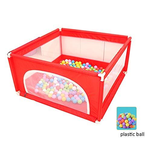LIANGJUN-Parc bebe Tissu Oxford Sécurité Stable Boule en Plastique Facile À Nettoyer Intérieur De Plein Air, 4panels (Color : Red, Size : 120X120X62CM)