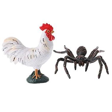 shamjina 2pcs Realistic Plastic Farm Jungle Wild Animal Figure Toy Playset Spider Cock