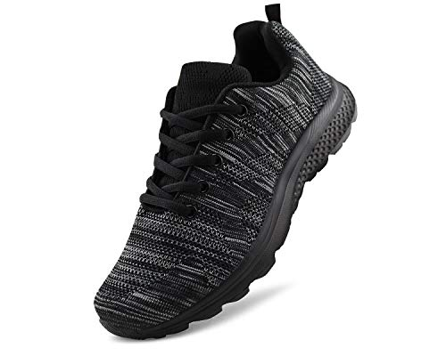 JABASIC Women's Breathable Knit Sports Running Shoes Casual Walking Sneaker (5 B(M) US, Black-1)