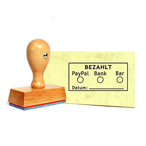 Stempel Bezahlt zum Ankreuzen - ca. 50 x 25 mm - Büro Buchungsstempel Kontierungsstempel