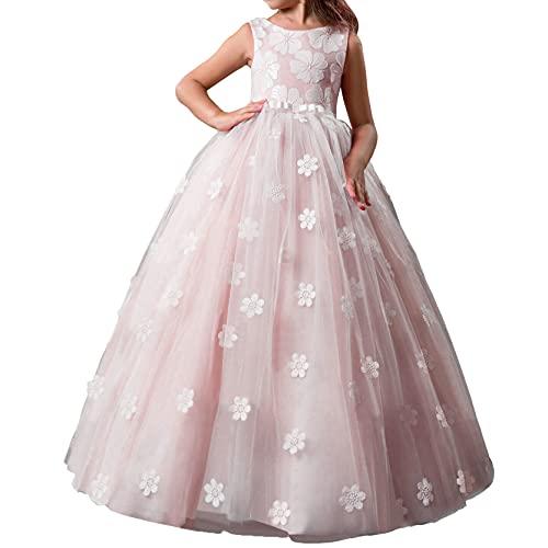 inlzdz Kinder Mädchen Tüllkleid Blumenstickerei Festzug Ballkleider Spitze Party Brautkleider Ärmelloses Rundhals Prinzessin Hochzeit Kleid...