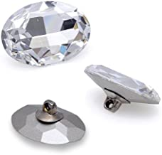Button Swarovski 4127 Oval 22 x 30mm Crystal/Silver
