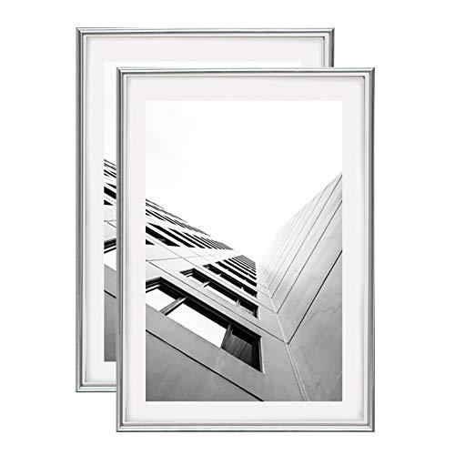 Juego de 2 marcos de la foto 40x60 (plata) o 60x40 cm, ventana de cristal de protección, incluida la pared para el cartel digital de gran formato ..