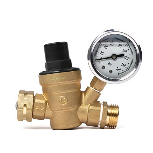 Water Regulator Valve- 3/4' NH Thread Lead Free Brass Adjustable RV Pressure Regulator with Pressure Gauge and Water Filter Net by U.S. Solid