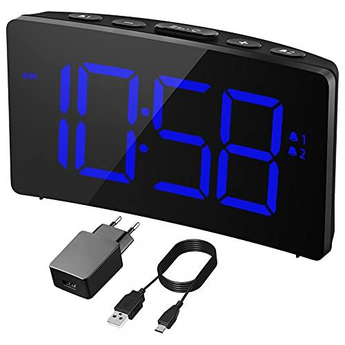 Holife Despertadores Digitales, Reloj Despertador Digital con Adaptador, Pantalla Curva LED de 5'', 6 Niveles de Brillos Ajustables, 3 Sonidos de Alarma 3 Volúmenes, Puerto USB,Snooze,12/24H, Azul