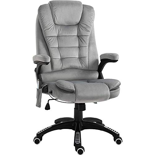 Vinsetto Ergonomic 6 Point Vibrating Massage Office Chair High Back Executive Reliner with Heating, Adjustable Height, Arm, Grey