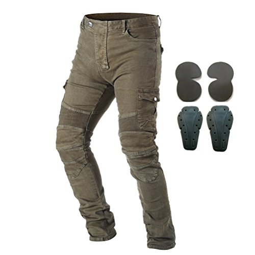 Takuey Men Motorcycle Riding Pants Racing Jeans with 4 X Knee Hip Pads Army Green M=30